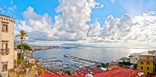 View of Naples and Vesuvius from Posillipo hill Royalty Free Stock Photography