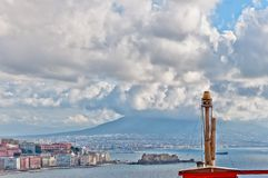 View of Naples and Vesuvius from Posillipo hill Stock Image
