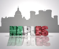 View of Naples. Word Naples with national flag of italy near skyline silhouette Stock Photography