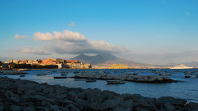 A view of Napoli. In Italy with the Vesuvio and Castel dell'Ovo in the background royalty free stock photography