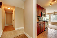View of narrow corridor and kitchen room Stock Photo