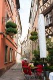 View of narrow lane in old town Strasbourg Stock Photos