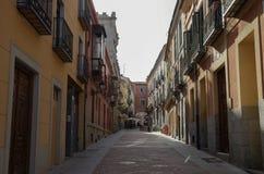 View narrow old street near market  square  of medieval Avila t Stock Photography