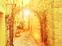 View narrow street in old district Royalty Free Stock Photography