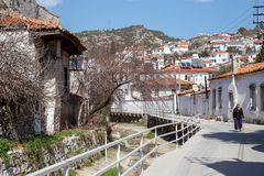 A view of the narrow streets of Mugla. Streets of old Mugla. Turkey. royalty free stock photography