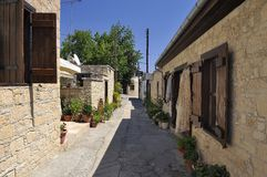 View of the narrow streets in old village Omodos, Cyprus Stock Image