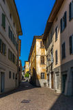 View of the narrow streets of Tirano in Italian Valtellina - 9. View of the narrow streets of Tirano in Italian Valtellina Royalty Free Stock Images