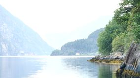 View to fjord in Norway stock video