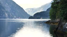 View to fjord in Norway stock video footage