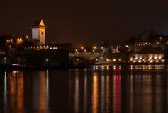 View of Narva Castle, the bridge across the river and promenade from Ivangorod. Estonia. Stock Image