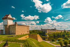 View of Narva Castle with tall Herman's tower Royalty Free Stock Photo