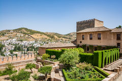View of the Nasrid Palaces Palacios Nazaríes and gardens in front of them in Alhambra. View of the Nasrid Palaces Palacios Nazaríes and gardens in front Royalty Free Stock Photo