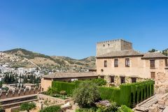 View of the Nasrid Palaces Palacios Nazaries  in Alhambra, Gra. Nada on a beautiful summer day, Spain, Europe, clear blue sky Royalty Free Stock Photos