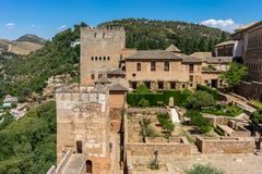 View of the Nasrid Palaces Palacios Nazaries  in Alhambra, Gra. Nada on a beautiful summer day, Spain, Europe, clear blue sky Royalty Free Stock Images