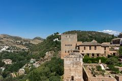 View of the Nasrid Palaces Palacios Nazaries  in Alhambra, Gra. Nada on a beautiful summer day, Spain, Europe, clear blue sky Stock Photography