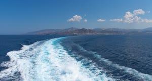 Nasso bay and harbor - Cyclades island - Aegean sea - Naxos - Gr. View of Nasso bay and harbor - Cyclades island - Aegean sea - Naxos - Greece royalty free stock photo