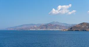 Nasso bay and harbor - Cyclades island - Aegean sea - Naxos - Gr. View of Nasso bay and harbor - Cyclades island - Aegean sea - Naxos - Greece stock photos