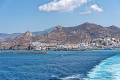 Nasso bay and harbor - Cyclades island - Aegean sea - Naxos - Gr. View of Nasso bay and harbor - Cyclades island - Aegean sea - Naxos - Greece stock photo