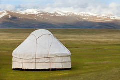 View of national asian yurt. In mountains Royalty Free Stock Photo