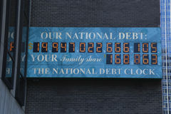 View of the National Debt Clock in Midtown Manhattan. NEW YORK - MARCH 16, 2017: View of the National Debt Clock in Midtown Manhattan. The clock shows gross stock images