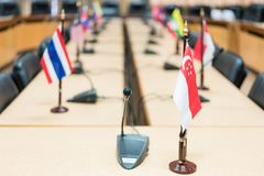 View of national flags of Southeast Asia countries; Brunei. Darussalam, Myanmar, Cambodia, Indonesia, Laos, Malaysia, Philippines, Singapore, Thailand, Vietnam royalty free stock image