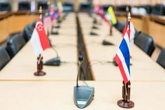 View of national flags of Southeast Asia countries. Brunei Darussalam, Myanmar, Cambodia, Indonesia, Laos, Malaysia, Philippines, Singapore, Thailand, Vietnam royalty free stock image
