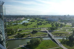 View from National library in Minsk. View on Minsk from height of National library royalty free stock photography