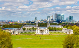 View of the National Maritime Museum and Canary Wharf Stock Photo