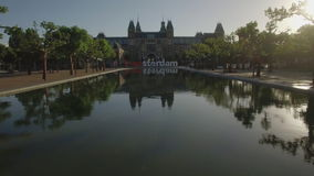 View of National Museum Rijksmuseum at the Museumplein, Amsterdam, Netherlands stock video footage