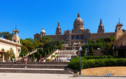 View of National Palace of Montjuic in Barcelona, Catalonia Royalty Free Stock Images