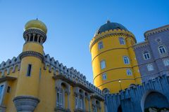 National palace of  Pena, Sintra, Portugal. View on the national palace of Sintrra in Portugal Stock Photography