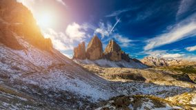 View of the National Park Tre Cime di Lavaredo, Dolomites, South Stock Images