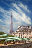 View on the National Residence of the Invalids and Eiffel tower Royalty Free Stock Image