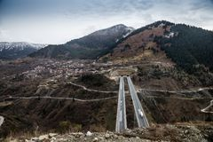 View of the national road Egnatia Odos as it appears from Mets Royalty Free Stock Photos