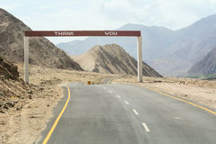 View of National Road in Ladakh, India. View of National Road to the border of Pakistan in Ladakh, India royalty free stock photos
