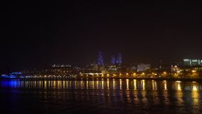 View of the National Seaside Park at night, Baku city, Azerbaijan stock video footage