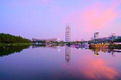 View of National Stadium and Olympic Park Multi-Function Broadcasting Tower in Beijing China royalty free stock images