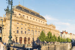 View of the National Theater Narodni divadlo view from the Legii. Bridge in Prague, Czech Republic Royalty Free Stock Photos