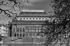 View on National Theatre over the Vltava River. royalty free stock photos