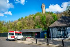 A view of the National Wallace Monument from the visitor centre near Stirling Stock Photo