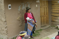 View of a Native peruvian woman and her baby Stock Photography