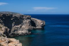 Natural Caves and Cliffs in Mellieha, Malta. A view of the Natural Caves and Cliffs in Mellieha, Malta Stock Photography