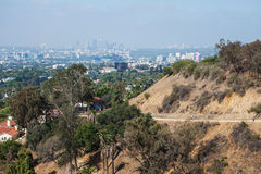 View of natural in mountains, Los Angeles runyon. View of natural in mountains and down town from Los Angeles runyon canyon park, California stock photo