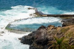 View of natural swimming pool in Los Gigates. Canary Islands, Tenerife, Spain. Stock Image