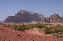 View of Nature, desert and rocks of Wadi Rum (Valley of the Moon Royalty Free Stock Photos