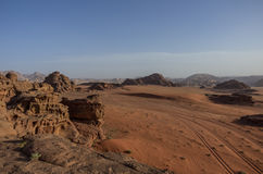 View of Nature, desert and rocks of Wadi Rum (Valley of the Moon Stock Images
