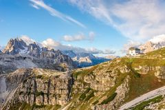 View at the nature with hut in Dolomites - Italy Royalty Free Stock Image