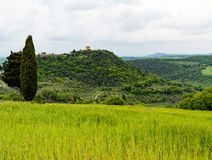 View of the nature surrounding the small town of Monticchiello. Pienza, Siena, Tuscany, Italy stock image