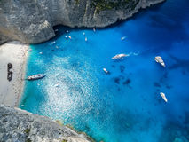 View of Navagio (Shipwreck) Beach in Zakynthos, Navagio Beach is. A popular attraction among tourists visiting the island of Zakynthos Royalty Free Stock Photos