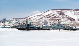 View of Naval vessels on the Petropavlovsk-Kamchatsky seaport Stock Image